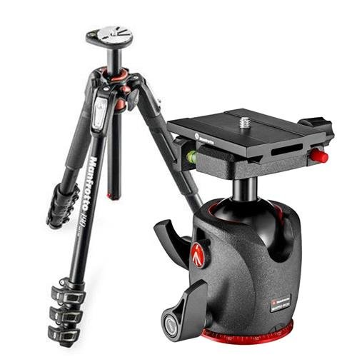 Manfrotto MT190 XPRO4 190 Aluminum 4-Section Tripod with Horizontal Column, 63'' Max Height, Supports 15.4 lbs - Bundle MHXPRO-BHQ6 XPRO Ball Head with Top Lock Quick-Release