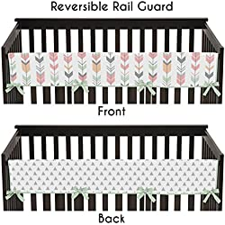 Sweet Jojo Designs Grey, Coral and Mint Woodland Arrow Long Front Rail Guard Baby Teething Cover Crib Protector Wrap