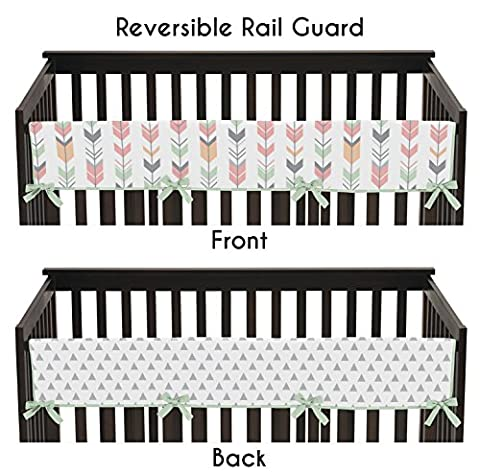 Sweet Jojo Designs Grey, Coral and Mint Woodland Arrow Long Front Rail Guard Baby Teething Cover Crib Protector - Crib Teething Rail Cover