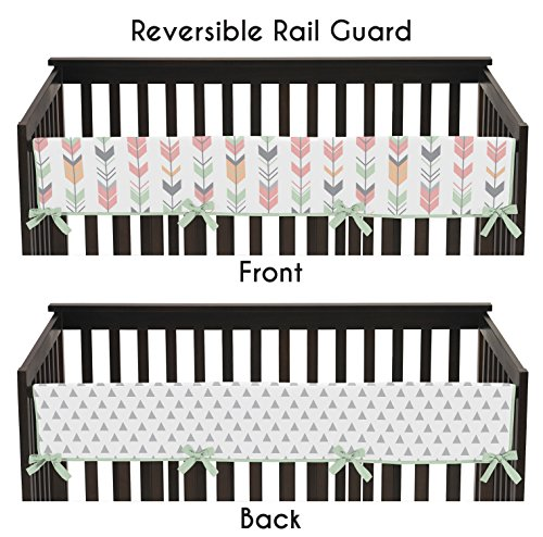 Sweet-Jojo-Designs-Grey-Coral-and-Mint-Woodland-Arrow-Long-Front-Rail-Guard-Baby-Teething-Cover-Crib-Protector-Wrap