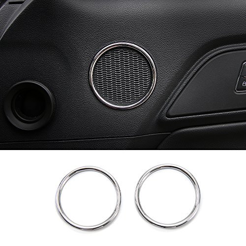 RT-TCZ Door Trumpet Cover Speaker Decorative Ring Trims for Ford Mustang 2015-2017 (Chrome) -