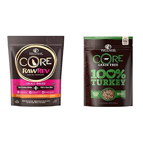 Wellness CORE RawRev Small Breed Protein Pack: Includes CORE RawRev Small Breed 4lb. and 100% Freeze Dried Turkey - Revolution Dog