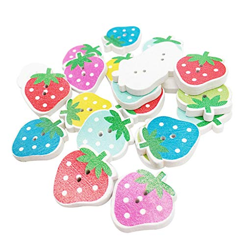 30pcs Mixed Strawberry Wooden Sewing Buttons DIY Scrapbooking 2 Holes Craft