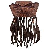 Caribbean Jack Sparrow Fancy Dress Hat With Hair & Beads