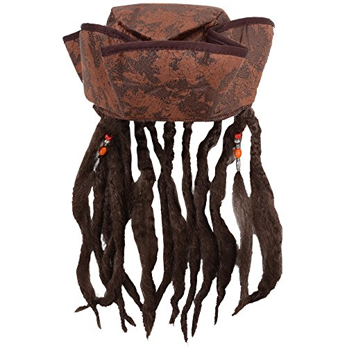 Wicked Costumes Caribbean Jack Sparrow Fancy Dress Hat With Hair & Beads