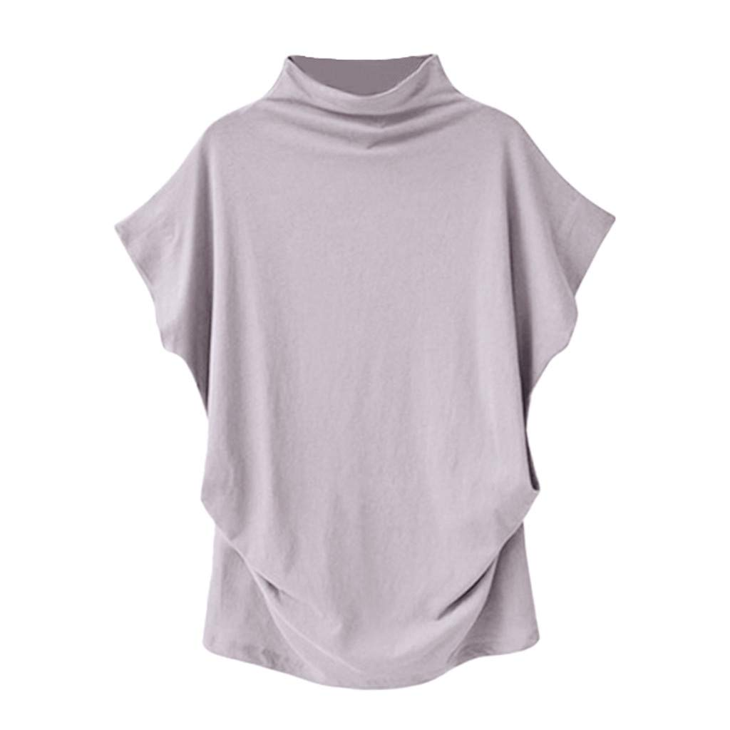 New in Summer Haalife◕‿Women Turtleneck Short Sleeve Top Fashion Irregular Blouse T Shirt Casual Oversize Tunic Tops Light Gray by HAALIFE Women's Clothing