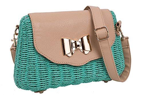 Bag Retro Green Badge Sea Emartbuy Shoulder Bag and Badge Sling with Crossbody Wicker Bow Wicker Floral Handbag Bag Linen Bow dITHTqBxw
