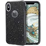MILPROX Glitter case for iPhone Xs iPhone X 5.8', Shiny Sparkle Bling, 3 Layer Hybrid Protective Soft Case - Black