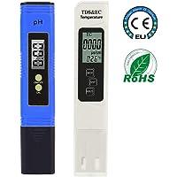 PH-mètre numérique, pH-mètre Test de qualité d'eau 0,01 PH avec plage de mesure du pH 0-14, TDS PH EC Set 2 en 1 pour eau potable à usage domestique, piscine, culture hydroponique, eau d'aquarium