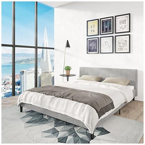 Bedroom San Francisco Queen Bed Frame | Upholstered Low Profile Headboard + Platform Bedframe | Gray Linen Modern Style Silver… modern beds and bed frames