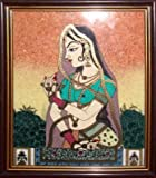 Gem Stone Painting of Lady, Art Craft & Handicraft of India