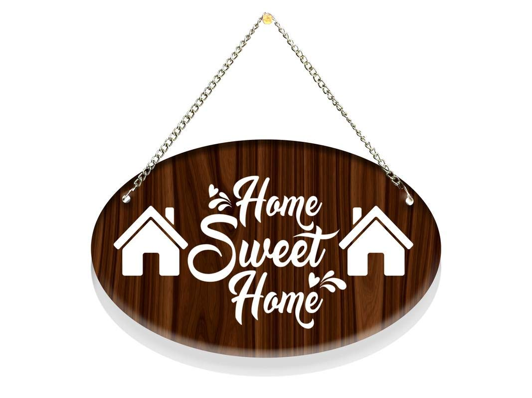 Buy Crazyink Home Sweet Home Wall Hanging Ovel Rendr Door Name Plate Wooden Acrylic Material Door Name Plate For Home 8x5 Inches Online At Low Prices In India Amazon In