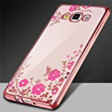 Samsung Galaxy A7 (2015), KolorFish Little Flower Butterfly TPU Transparent Back Cover Case For Samsung Galaxy A7 (2015) (Rose Pink)