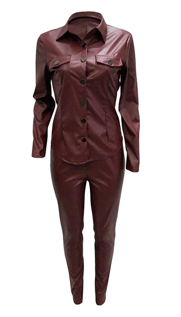 Wine Red TDCACA Women 2Piece Sets FauxLeather Leotard Pants Button Down Shirts Outfits