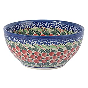 Traditional Polish Pottery, Handcrafted Ceramic Salad or Cereal Bowl 800 ml (d.16cm), Boleslawiec Style Pattern, M.702.Cranberry