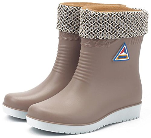 Wedge Low On Mid Apricot Boots Wellies Rain Women's Waterproof Heels IDIFU Pull Calf atpTqT