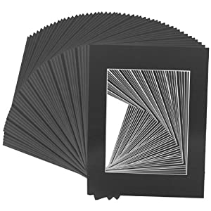 US Art Supply Art Mats Brand Premier Acid-Free Pre-Cut 8x10 Black Picture Mat Matte Face Frames. Includes a Pack of 50 White Core Bevel Cut Matte Frames for 5x7 Photos