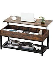 Dulcii Lift Top Coffee Table,Wooden Lift Tabletop Desk with Hidden Compartment and Mesh Shelve Desk and Dining Table Metal Frame for Living Room, Office, Family Room