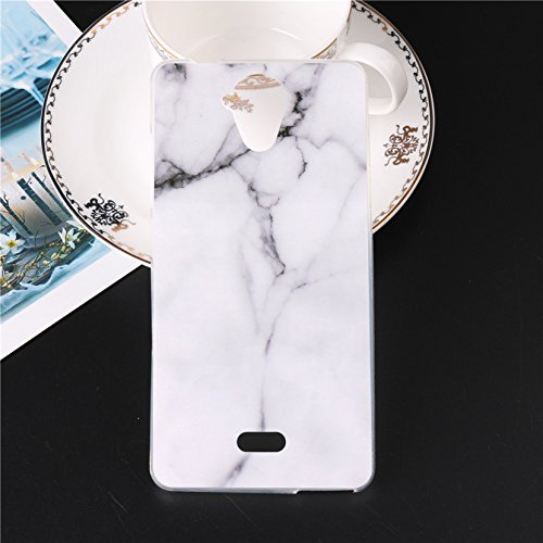 Funda Para Wiko U Feel Lite 5,0 pulgadas, Sunrive Silicona Funda Slim Fit Gel Carcasa Case Bumper de Impactos y Anti-Arañazos Espalda Cover(tpu Mármol blanco) + 1 x Lápiz óptico tpu Mármol blanco