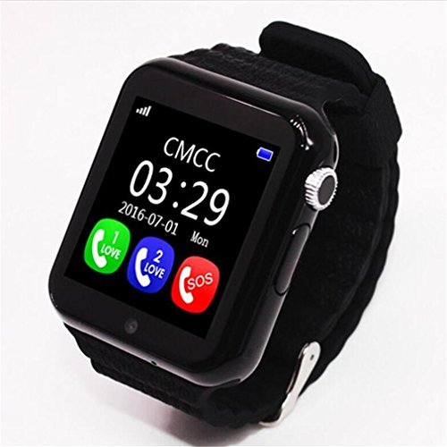 YIMOHWANG V7K Smart Watch for Kids Children GPS Tracker Smartwatch V7K With Camera Facebook Kids SOS Emergency Security Anti Lost For IOS Android iPhone Samsung (BLACK)