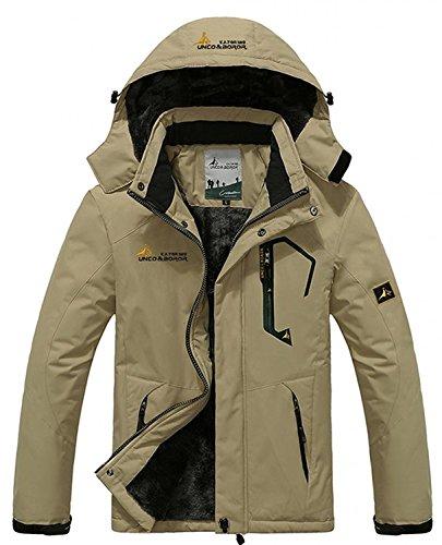 Zando Men's Waterproof Windproof Outdoor Snow Jacket Ski Mountain Fleece Jacket Thick Khaki US L (Tag Size 3XL)