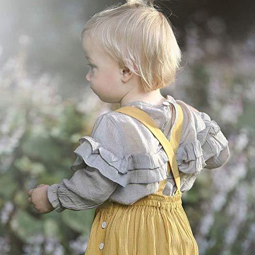 Bambini Ruffled primavera White bambini 100 solido in shirt casual Grey t autunno lunga abbigliamento colore cm a per manica cotone top R6ROrqw