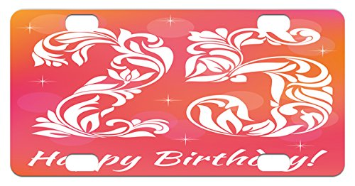 25th Birthday Mini License Plate by Ambesonne, Font with Lea