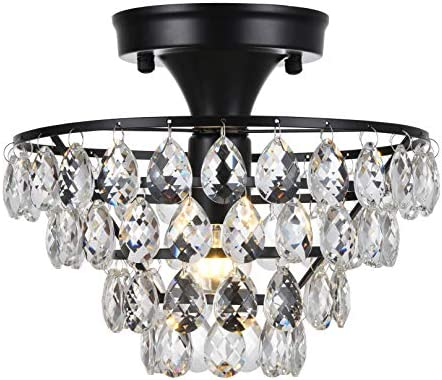 Tayanuc Elegant Glam Crystal Black Semi Flush Mount Ceiling Light Fixture, Small Chandelier for Bedroom Wardrobe Hallway