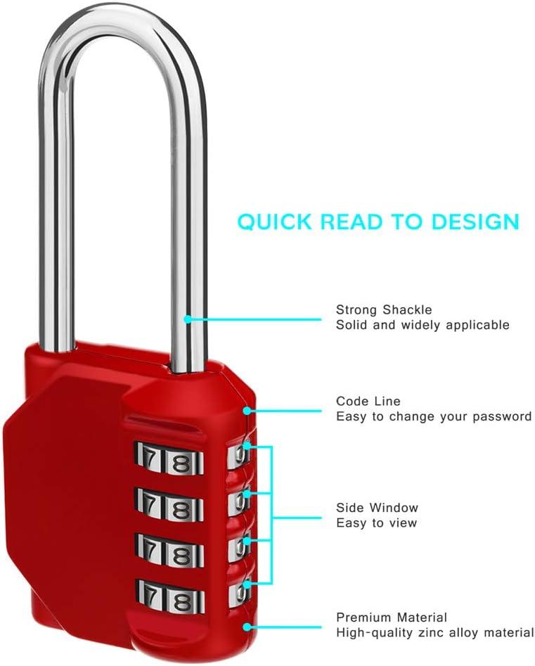 School Lock Gym Lock Locker Lock- Resettable Weatherproof Combination Lock Outdoor for Gates 4 Digit Padlock Hasps Combination Lock Storage Doors