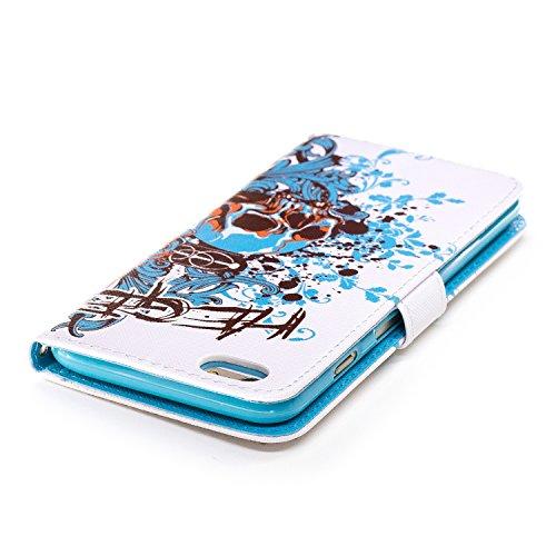 Custodia Iphone 6 Plus / 6S Plus , Cozy Hut Retro Dipinto Modello Design Con Cinturino da Polso Magnetico Snap-on Book style Internamente Silicone TPU Custodie Case in pelle Protettiva Flip Cover Per
