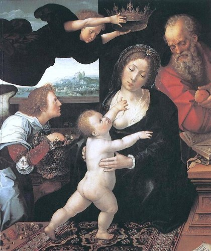 Bernaert Van Orley Holy Family - 24'' x 30'' 100% Hand Painted Oil Painting Reproduction by Art Oyster