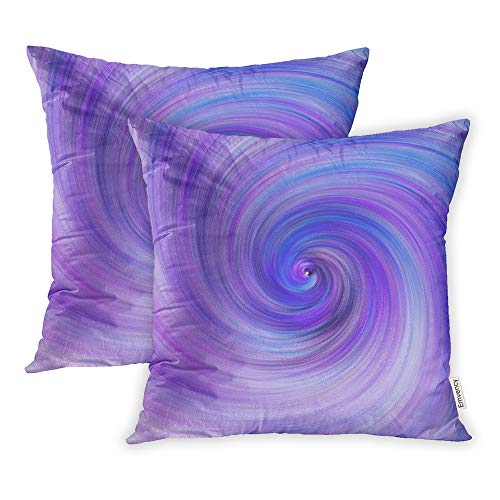 Emvency Set of 2 Throw Pillow Covers Print Polyester Zippered Fantastic Swirl Abstract Blue and Purple Fractal Fantasy Digital 3D Rendering Pillowcase 16x16 Square Decor for Home Bed Couch Sofa