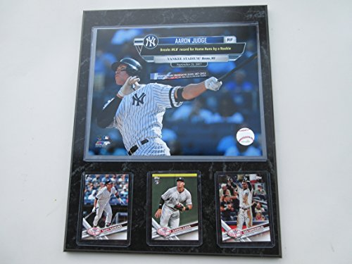 "AARON JUDGE NEW YORK YANKEES BREAKS THE ROOKIE HOME RUN RECORD AT YANKEE STADIUM PHOTO PLUS 3 CARDS INCLUDING ROOKIE MOUNTED ON A""12 X 15"" BLACK MARBLE PLAQUE from SPORTS TEAM PRODUCTS"