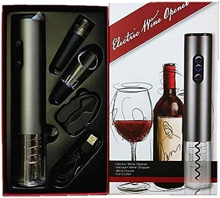 Supermega Abrebotellas eléctrico para Vino Sacacorchos Eléctrico Abre Vino Automático Profesional Abridor de Botellas Vino eléctrico ABSUltra Resistente Carga USB (Kit-P)