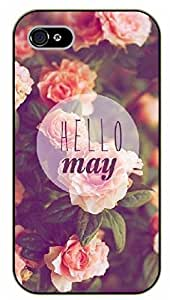 iPhone 5C Hello May, floral - black plastic case / Sexy Girl Black And White, Hot