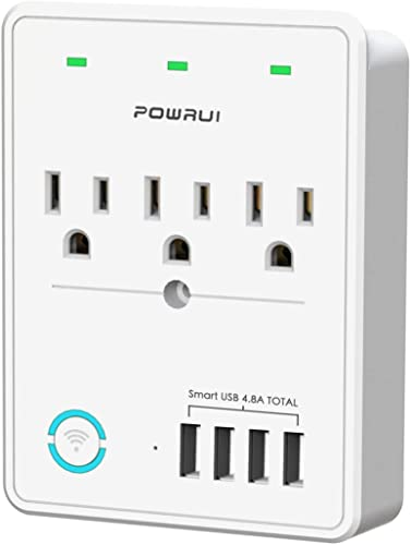Smart Plug 2.4G Only , USB Wall Charger, POWRUI WIFI Surge Protector with 4 USB Charging Ports 4.8A 24W Total and 3 Smart Outlet Extender, Compatible with Alexa Google Assistant for Voice Control
