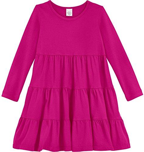 City Threads Little Girls' Cotton Long Sleeve Tiered Ruffle Dress, Hot Pink, 4T