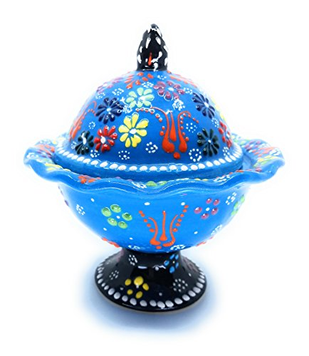 Handmade Turkish Traditional Ceramic Pottery Covered Candy Dish or Server ()
