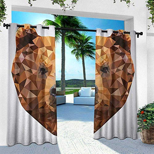 Hengshu Bear, Outdoor Privacy Curtain for Pergola,Fractal Geometric Look Portrait with Triangles Modern Art Inspired Design, W120 x L108 Inch, Brown Black Pale Grey