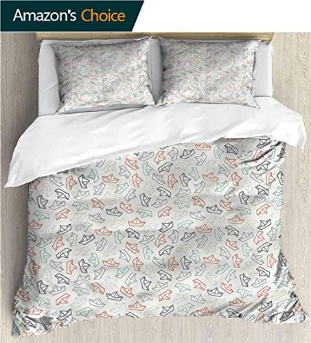 Modern Pattern Printed Duvet Cover,Box Stitched,Soft,Breathable,Hypoallergenic,Fade Resistant Soft Microfiber Bedspread Coverlet Bedding-Sail Boat Doodle Style Paper Ships (80