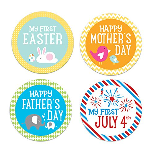 Pearhead First Year Holiday Milestone Photo Sharing Baby Belly Stickers with 14 Holidays -