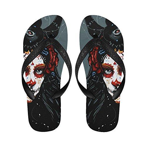 D-Story Sugar Skull Day Of The Dead Flip Flops Beach Sandals For Men/Women