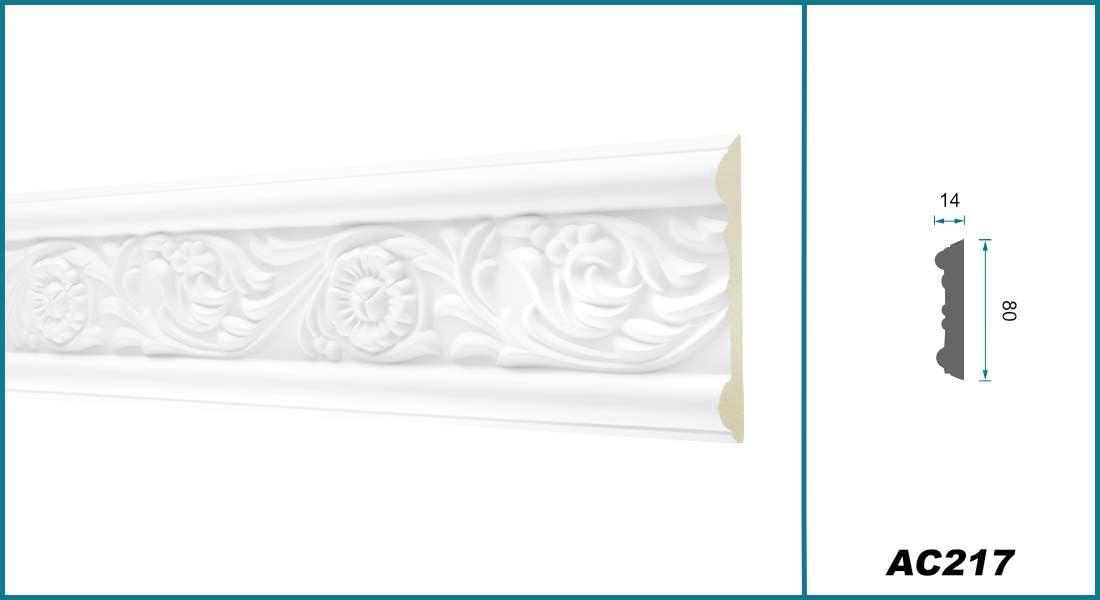 sto/ßfest wei/ß Stuckprofil aus PU gemustert AC228 Hexim Perfect Flachleiste Dekorleiste Wandleiste Zierprofile 2 Meter Flachprofil 26x10mm