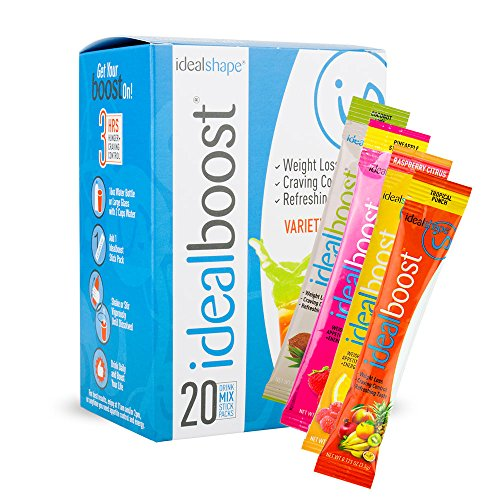 IdealBoost, Weight Loss Drink Mix Packets, Variety Pack, w/ Hunger Blocking and Energy Blends, 20 Servings…