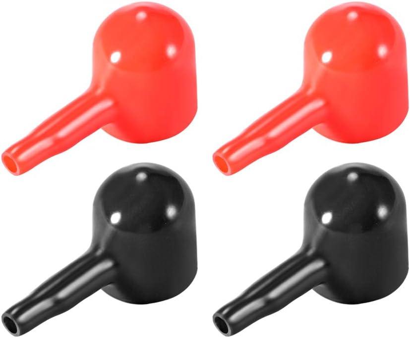 sourcing map Cubiertas Protectoras de Goma para Terminales de Bater/ía Negro Rojo 3 mm x 12 mm 1 par