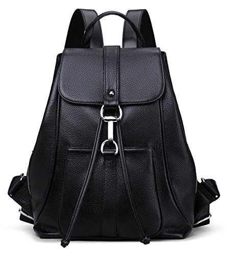 New vintage Women Real Genuine Leather Backpack Purse SchoolBag by Coolcy (Black)