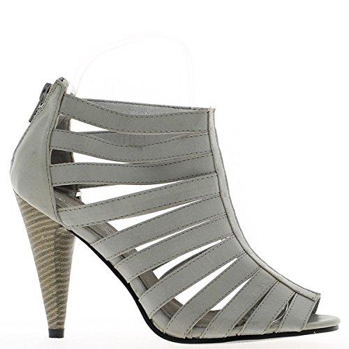 Sandali grigio flangiato tacco sottile 10cm