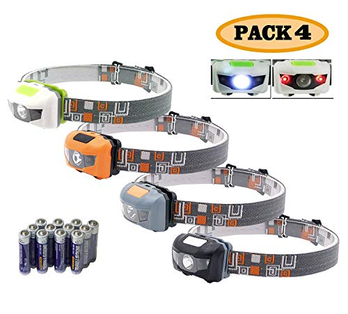 Pack 4.SUNYANG Waterproof White+Red Light Headlamp,4 Brightness Level Choice,160 Lumens,50g Weight,Comfortable Head Headlamp
