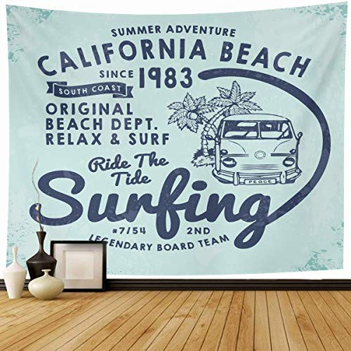 Ahawoso Tapestry Wall Hanging 80x60 Summer California Surf Tee Retro Jersey Vintage Lettering Beach Adventure Child Home Decor Tapestries Decorative Bedroom Living Room Dorm ()