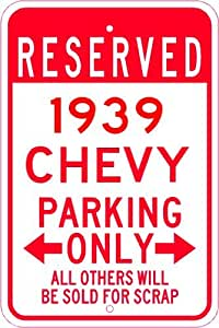 1939 39 CHEVY TRUCK Parking Sign - 10 x 14 Inches